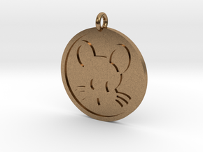 Mouse Pendant in Natural Brass