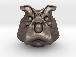Uncle Dog in Polished Bronzed Silver Steel: Medium