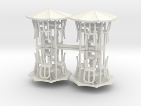 Sidewalk Cafe Set x4, 1:64 S scale in White Natural Versatile Plastic