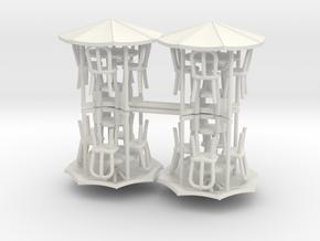Sidewalk Cafe Set x4, 1:64 S scale in White Natural Versatile Plastic