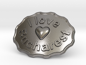 I Love Bucharest Belt Buckle in Polished Nickel Steel