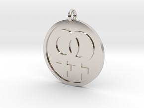 Double Female Pendant in Rhodium Plated Brass