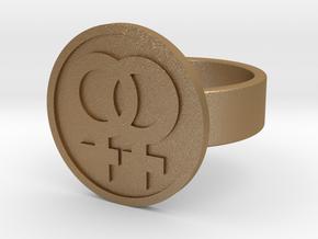 Double Female Ring in Matte Gold Steel: 10 / 61.5