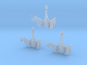 1/3900 QuD Frigate - Attack mode - 3 ships pack in Smooth Fine Detail Plastic
