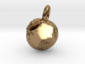 Dodecahedron Snake Pendant small in Natural Brass
