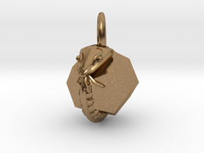 Dodecahedron Snake Pendant mini in Natural Brass