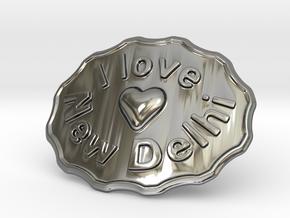 I Love New Delhi Belt Buckle in Fine Detail Polished Silver
