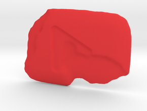 Melted Play Button in Red Processed Versatile Plastic