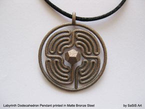 Labyrinth Dodecahedron Pendant  in Matte Bronze Steel