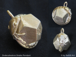 Dodecahedron Snake Pendant in Raw Bronze