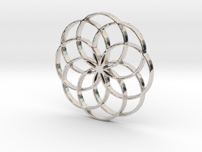 8 Petal Flower of Life Circles Rings Pendant in Rhodium Plated Brass