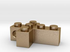 Brick Cross in Polished Gold Steel