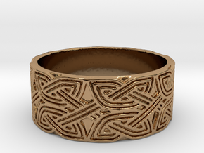 Croatian interlace male Ring (+2 armor) in Polished Brass