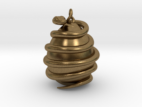 Orphic egg Pendant 4.5cm (Raw + Precious Metals) in Natural Bronze