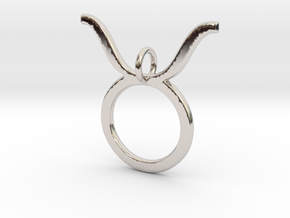 Taurus Symbol Pendant in Rhodium Plated Brass