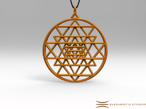 2.5D Sri-Yantra  6.3cm (All Metals) in Polished Gold Steel
