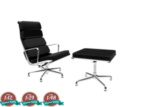 Miniature Eames Softpad Chairs - Charles Eames in White Natural Versatile Plastic: 1:24