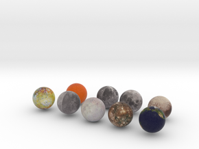Earth Moons and Pluto in Full Color Sandstone