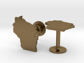 Cufflinks - Choose Any State (Wisconsin) in Natural Bronze