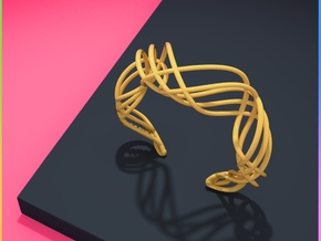 DNA  bracelet for her in Polished Gold Steel