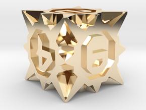 Starburst D6 - 16mm die in 14k Gold Plated Brass