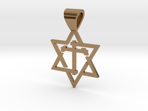 Star of David with the Cross in Natural Brass
