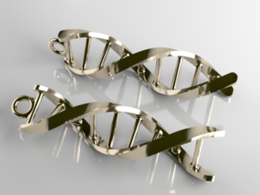 DNA Earrings in Polished Brass