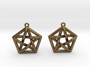 Complete Graph Earrings (K_5) in Natural Bronze