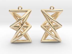Complete Bipartite Earrings (K_{3,3}) in 14k Gold Plated Brass