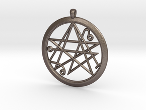 Sigil of the Gates Pendant 6.5cm in Polished Bronzed Silver Steel