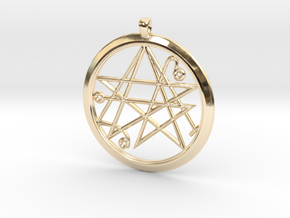 Sigil of the Gates Pendant 6.5cm in 14K Yellow Gold