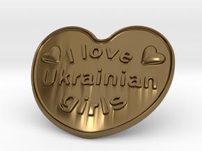 I Love Ukrainian Girls in Polished Bronze