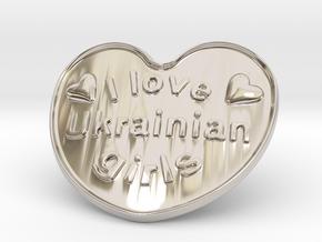 I Love Ukrainian Girls in Rhodium Plated Brass