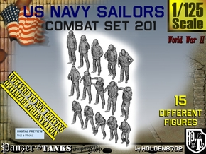 1-125 USN Combat Set 201 in Smooth Fine Detail Plastic