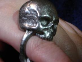 Skull Ring size 11 in Polished Bronzed Silver Steel