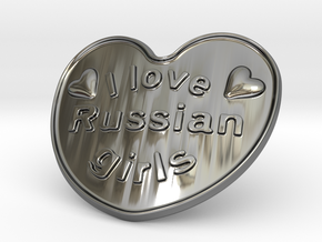 I Love Russian Girls in Fine Detail Polished Silver