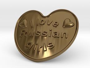 I Love Russian Girls in Polished Bronze