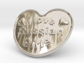 I Love Russian Girls in Rhodium Plated Brass