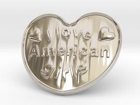 I Love American Girls in Rhodium Plated Brass