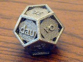 Lojban d12 - 12-sided die in Polished Bronzed Silver Steel