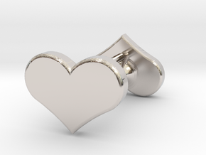 Solid Heart Earings in Rhodium Plated Brass