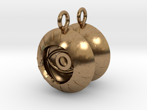 2x Vesica Eye Sacred Geometry Pendant in Natural Brass
