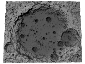 Moon Map: Large Crater, B&W in Glossy Full Color Sandstone