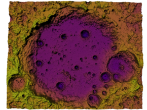 Moon Map:  Large Crater, Plasma in Full Color Sandstone