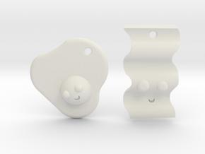 Bacon & Egg Earrings/Friendship Charms in White Natural Versatile Plastic