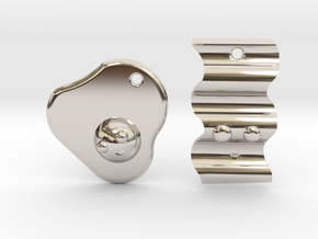 Bacon & Egg Earrings/Friendship Charms in Rhodium Plated Brass