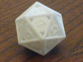 Open 20-sided die in White Natural Versatile Plastic