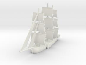 1/1000 Sailing Paddle Steamer version 1 in White Natural Versatile Plastic
