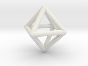 Octahedron Triangular Pyramid Pendant in White Natural Versatile Plastic