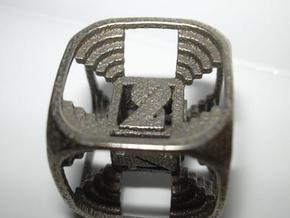 Stepped Die D6 in Polished Bronzed Silver Steel